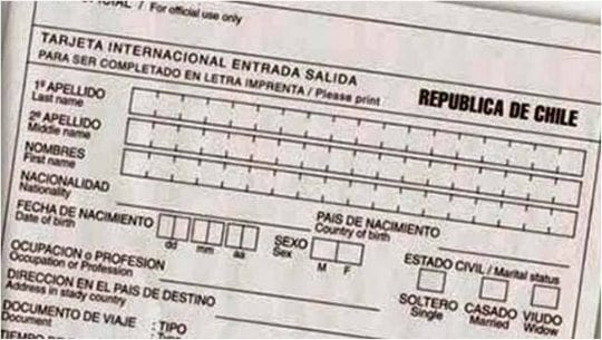 cartão de migração Chile, tarjeta de migración
