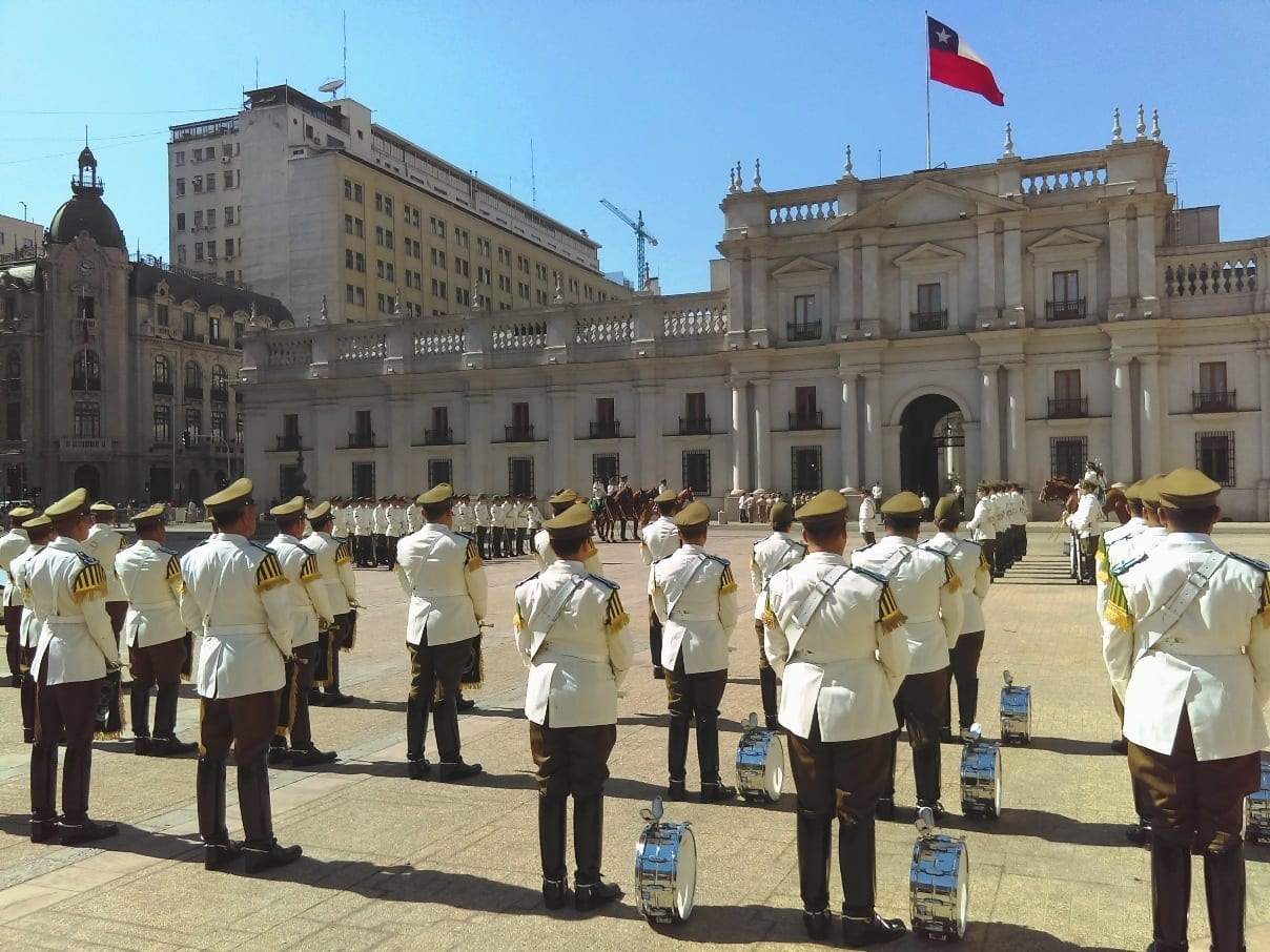 Troca de guarda La Moneda, Palacio de governo do Chile, Cambio de guardia La Moneda